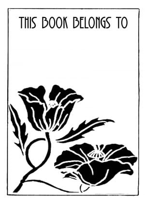 flower bookplate with text This Book Belongs To